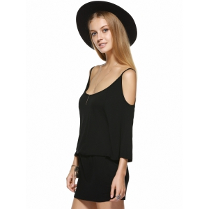 Mini Casual Backless Cold Shoulder Dress - BLACK XL