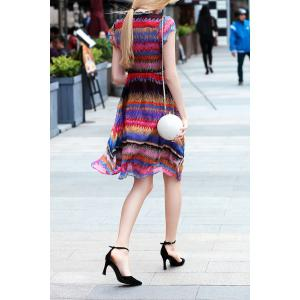 V Neck Colorful Stripe Swing Dress -