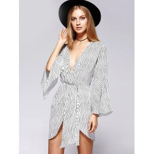 Graceful Plunge Neck Bell Sleeve Stripe Wrap Slit Dress For Women -