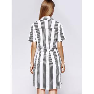Casual Stripe Loose Fitting Belted Shirt Dress For Women -