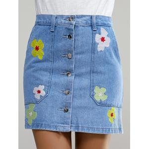 Casual Floral Button Embellished Denim Skirt For Women -