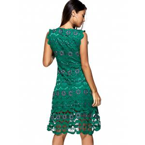 Embroidered Cutout Hit Color Lace Dress -