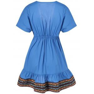 Ethnic Style Slimming Plunging Neck Low-Cut Dress For Women - SAPPHIRE BLUE L