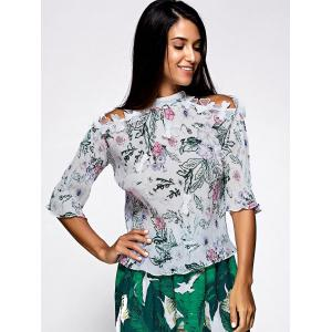 Sweet Half Sleeve Floral Print Pleated Blouse -
