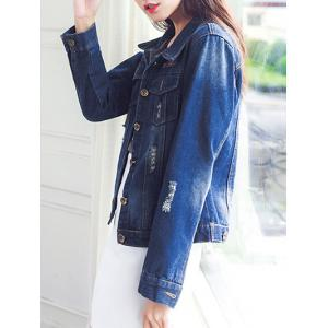 Ripped Button Design Front Pockets Jacket -