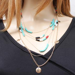 Bohemian Style Faux Turquoise Beads Necklace -