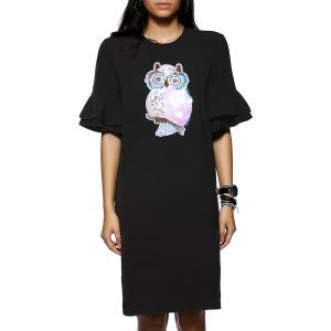 Owl Pattern Sequined Design 1/2 Sleeve Shift Dress - Black - S