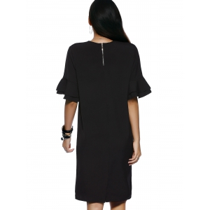 Owl Pattern Sequined Design 1/2 Sleeve Shift Dress - BLACK M