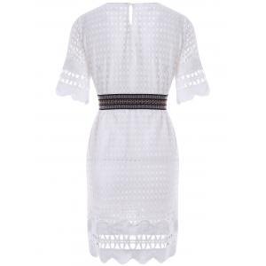 Sweet Half Sleeve Hollow Out Belted Dress For Women -