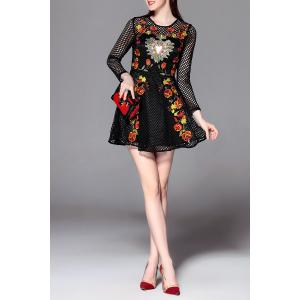 Floral Embroidered Openwork Mini Dress -