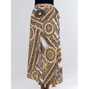 Vintage Abstract Pattern Tie Side Women's Asymmetrical Skirt -