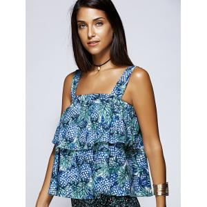 Alluring Pineapple Print Layered Flounce Women's Blouse -