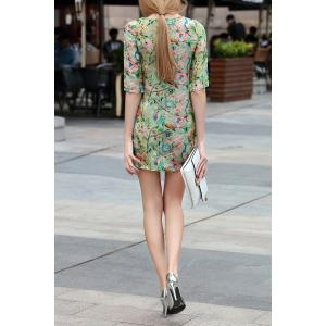 Flower Pattern Button Design Dress -