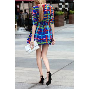 Elastic Waist Plaid Dress -
