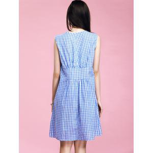 Preppy Style Women's V-Neck Checkered High Waisted Dress -