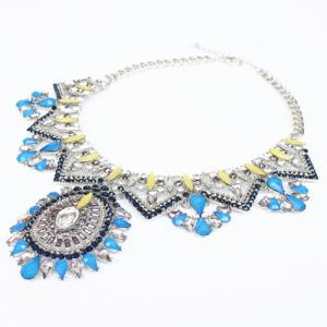 Gorgeous Layered Faux Crystal Water Drop Necklace For Women - SILVER
