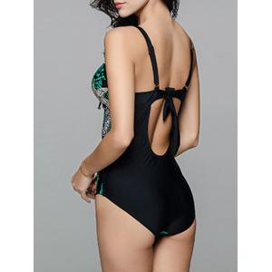 Printed Cutout Bandeau One Piece Swimsuit with Underwire - DEEP GREEN L