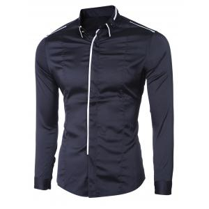 Turn-Down Collar Button-Down Linellae Design Long Sleeve Shirt For Men