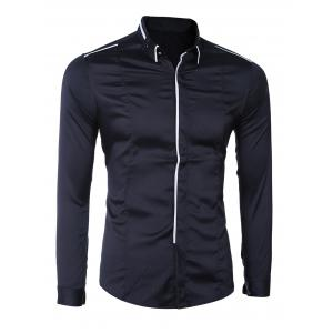 Turn-Down Collar Button-Down Linellae Design Long Sleeve Shirt For Men - BLACK M