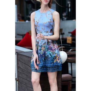 Short Sleeveless Floral Dress -