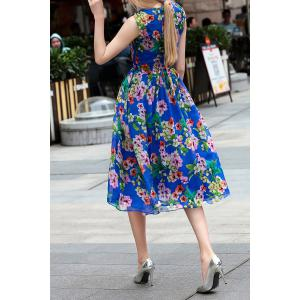 V Neck Flower Pattern Midi Dress -