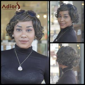 Prevailing Synthetic Short Curly Mixed Color Side Bang For Women