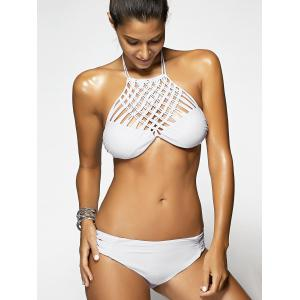 Chic White Weave Hollow Out Women's Bikini -
