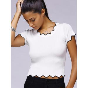 Scalloped Edge Knitted Crop Top T-Shirt -