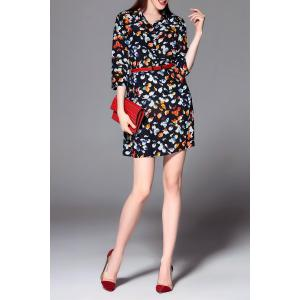Print Belted Mini Dress -