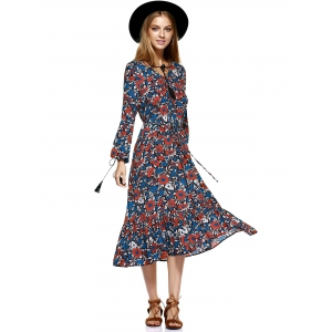 Midi Swing Floral Long Sleeve Flowing Dress - COLORMIX XL