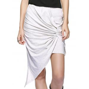 Twisted Ruched Asymmetric Skirt
