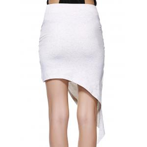 Twisted Ruched Asymmetric Skirt - LIGHT GRAY XL