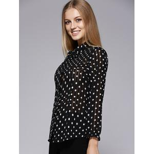 Fashionable Dot Printing Bow Tie Collar Blouse For Women -