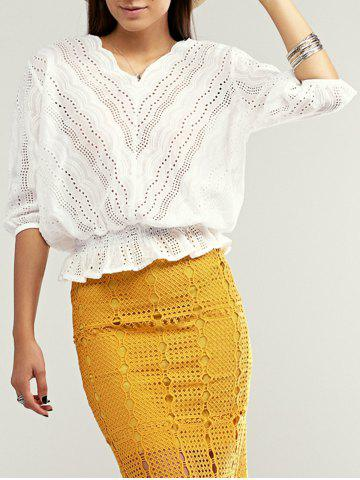 Outfit Scalloped Cutout Peplum Blouse