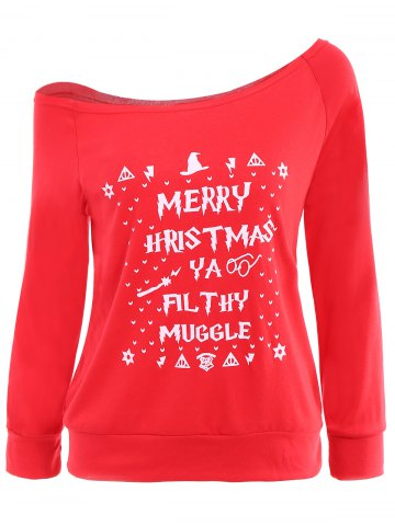 Fancy Christmas Skew Neck Long Sleeve Letter Pattern Sweatshirt For Women