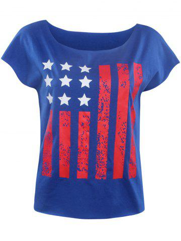 Fancy Stylish Slash Neck Star Striped Print Women's T-Shirt