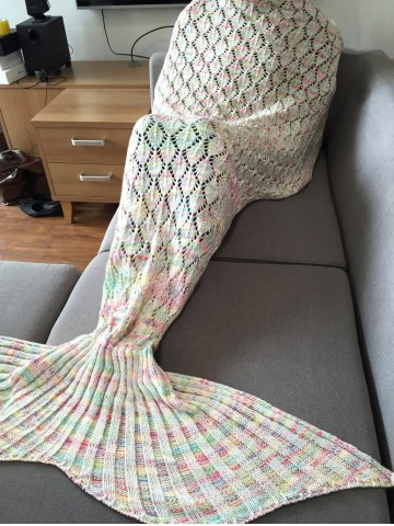 Fancy Fashion Colorful Hollow Out Mermaid Tail Design Knitting Blanket For Adult