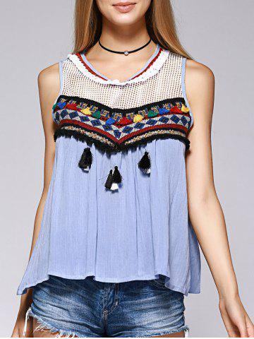 Fancy Ethnic Style V-Neck Openwork Tassel Sleeveless Top For Women