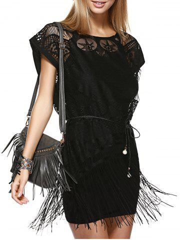 Store Fashionable Round Neck Openwork Fringe Top + Cami Dress Twinset For Women