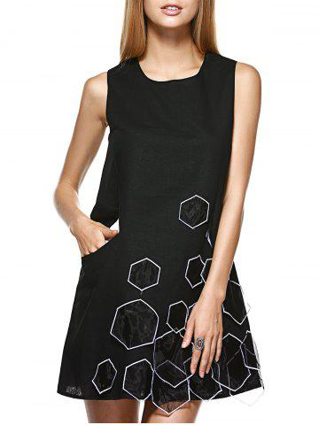 Outfit Simple RoundNeck Splice Sleeveless Dress For Women