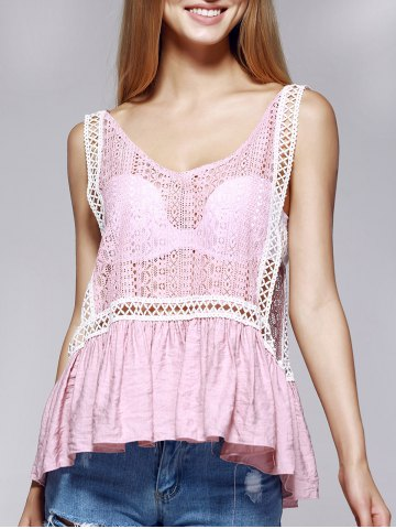 Shops Stylish V-Neck Lace Openwork Tank Top For Women