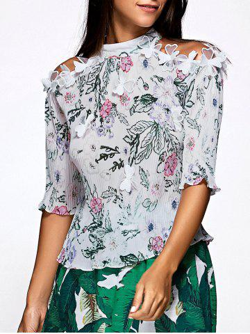 Online Sweet Half Sleeve Floral Print Pleated Blouse