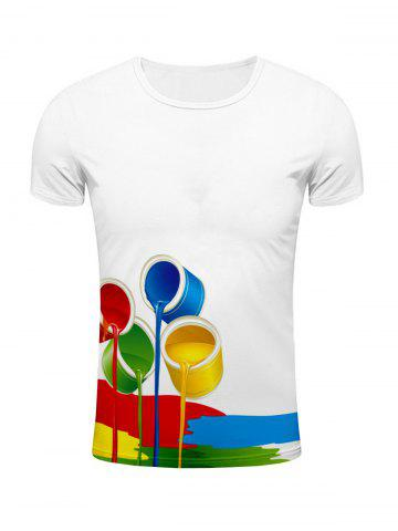 Store Round Neck 3D Colorful Paint Bucket Print Short Sleeve Stylish T-Shirt For Men WHITE 2XL