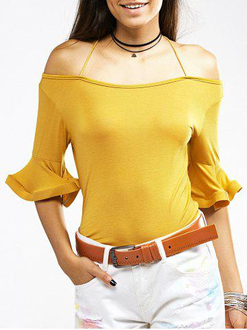 Online Charming Cold Shoulder Flare Sleeve Pure Color T-Shirt For Women