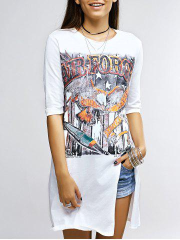 Chic Trendy Half Sleeve Printed Slit T-Shirt For Women