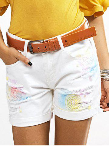 Best Chic Ripped Color Spray Denim Shorts For Women