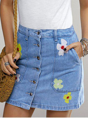Shops Casual Floral Button Embellished Denim Skirt For Women