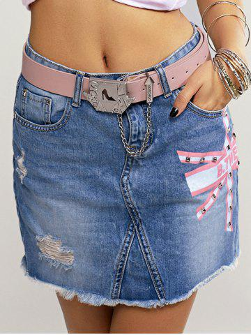 Outfit Stylish Ripped Rivet Belted Denim Skirt For Women
