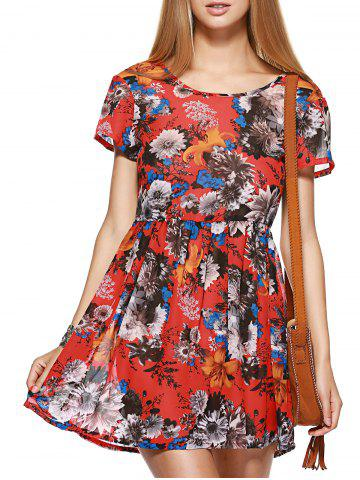 Fancy Short Sleeve Floral Print Race Day Dress
