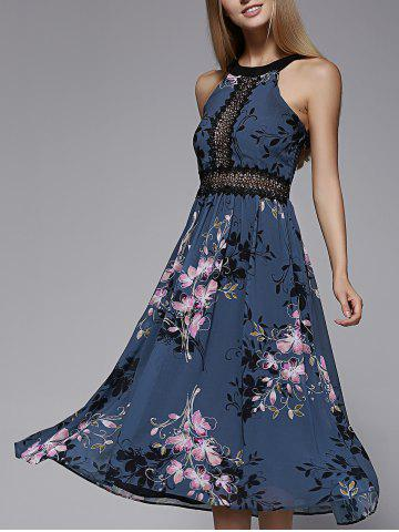 Unique Charming Sleeveless Floral Print Hollow Out Lace Spliced Women's Dress